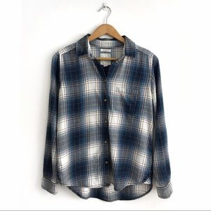 AEO Plaid Button Down Boyfriend Shirt S Blue White